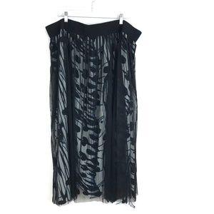Melissa McCarthy SEVEN7 Mesh Layer Pleated Skirt